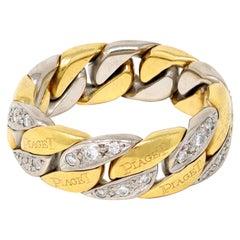 Piaget 18 Karat Duo Tone Flexible Diamond Link Ring