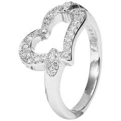 Piaget 18 Karat White Gold Heart Ring, Diamond