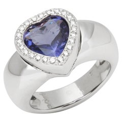 Piaget 18 Karat White Gold Iolite and Diamond Heart Cocktail Ring