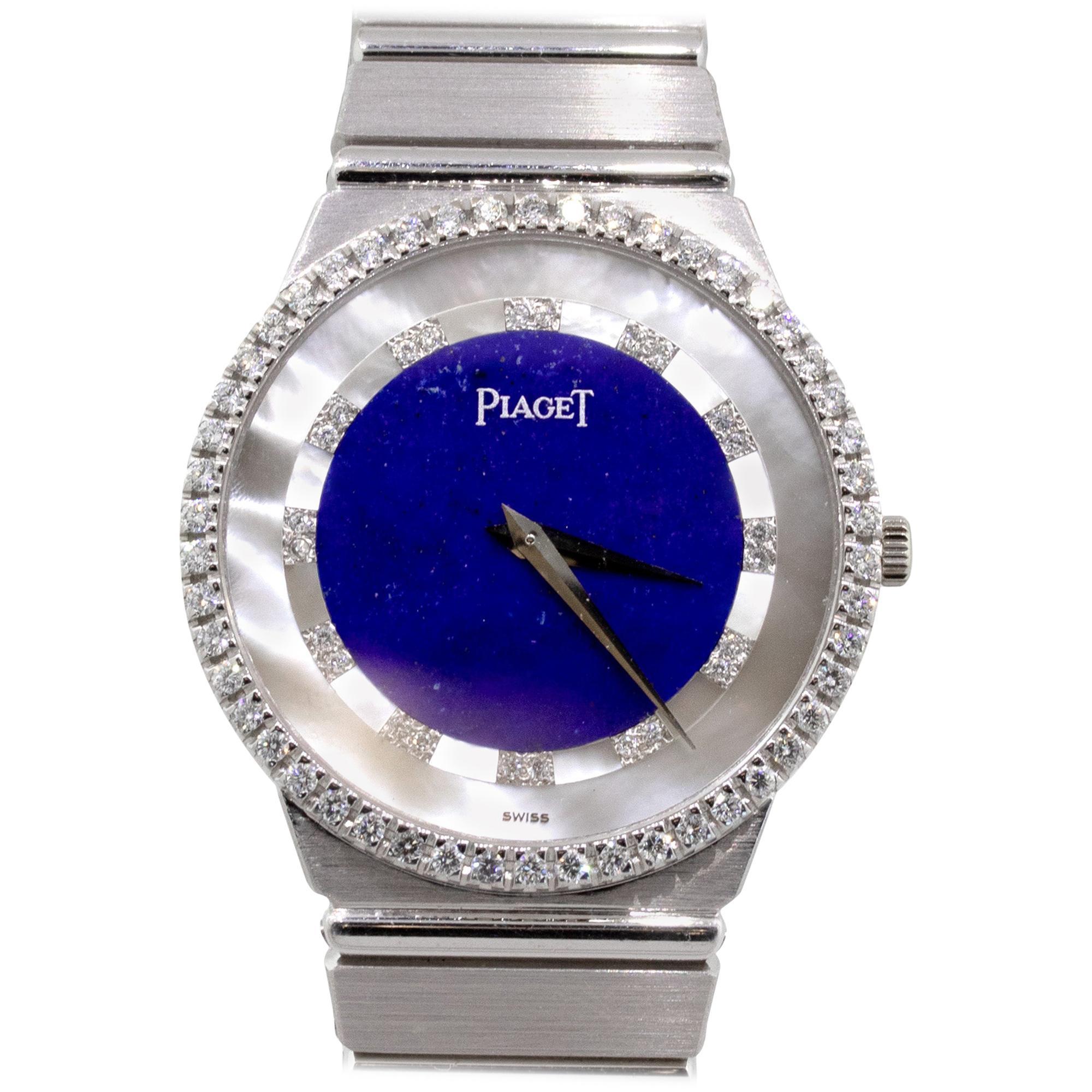 Piaget 18 Karat White Gold Lapis Lazuli and Mother of Pearl Dial Watch