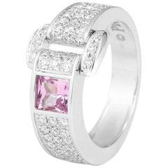 Piaget 18 Karat White Gold Sapphire Diamonds Ring