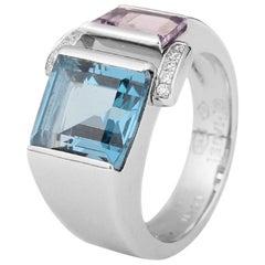 Piaget 18 Karat White Gold Topaz Amethyst Diamonds Ring