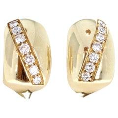 Piaget 18 Karat Yellow Gold and Diamond Huggie Hoop Earrings 0.50 Carat 15g