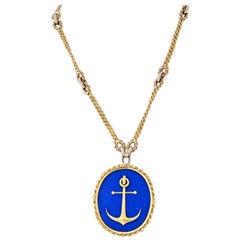 Piaget 18 Karat Yellow Gold Blue Lapis Anchor Pendant on a Chain Necklace