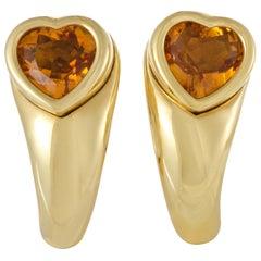 Piaget 18 Karat Yellow Gold Citrine Heart Earrings