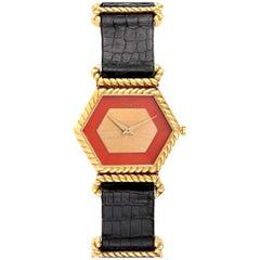 Piaget 18 Karat Yellow Gold Coral Dial Hexagonal Vintage Ladies Watch 9559