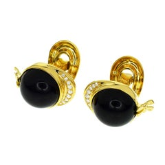 Piaget 18 Karat Yellow Gold Diamond Black Onyx Cufflinks