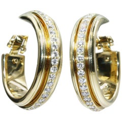 Piaget 18 Karat Yellow Gold Diamond Earrings