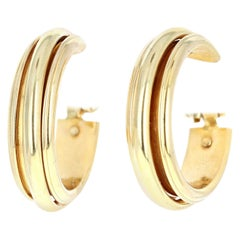 Piaget 18 Karat Yellow Gold Hoop Clip-On Earrings 14.1g