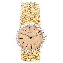 Piaget 18 Karat Yellow Gold Ladies Vintage Diamond Mesh Watch