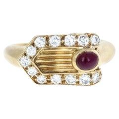 Piaget 18 Karat Yellow Gold, Ruby and Diamond Buckle Ring 6.8g