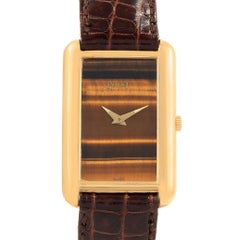 Piaget 18 Karat Yellow Gold Tiger Eye Brown Strap Ladies Watch 9228