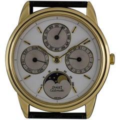 Piaget 18 Karat Yellow Gold White Enamel Dial Full Calendar Gents 15958