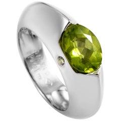 Piaget 18 Karat White Gold Peridot Diamond Ring