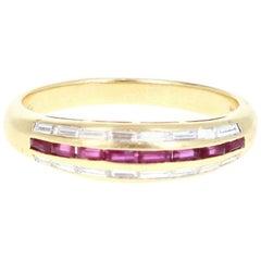 Piaget 18 Karat Yellow Gold, Diamond and Ruby Band Ring 0.50 Carat
