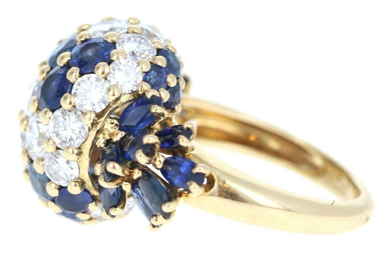 Piaget 18k Yellow Gold, Diamond & Sapphire Cluster Ring 3.20ctw    For sale is a Piaget 18k yellow gold, diamond and sapphire cluster ring.  The ring is comprised of approx. 1.70 cts of diamonds, F,VVS  and approx. 1.50 cts of sapphires.  The ring