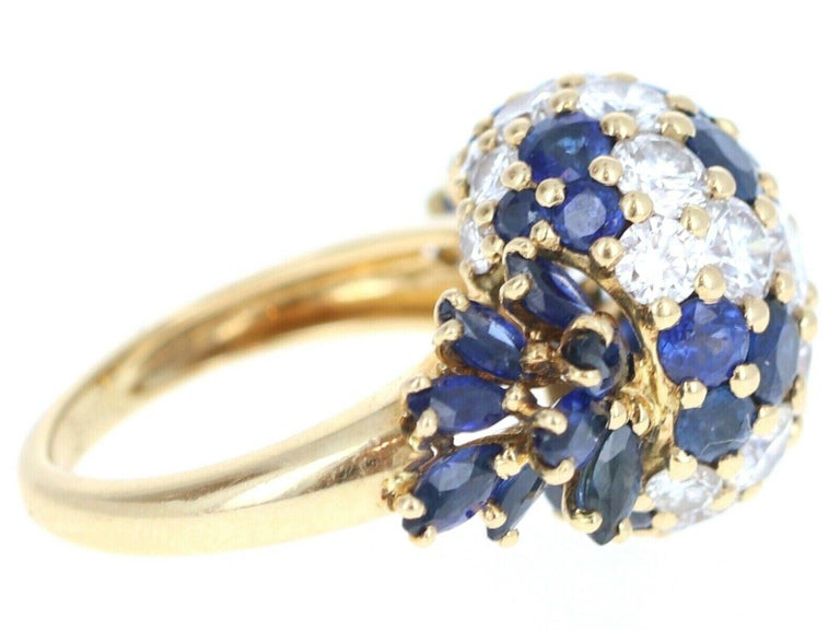 Piaget 18 Karat Yellow Gold Diamond and Sapphire Cluster Ring 3.20 Carat In Good Condition For Sale In Beverly Hills, CA