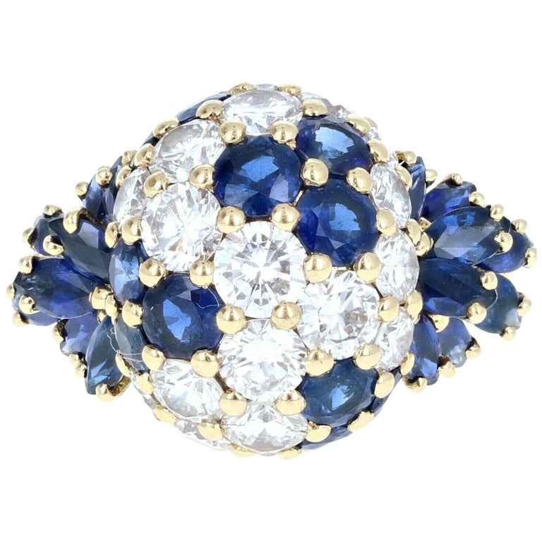 Piaget 18 Karat Yellow Gold Diamond and Sapphire Cluster Ring 3.20 Carat For Sale