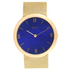 Piaget 18 Karat Yellow Gold Lapis Lazuli Dial Vintage Men's Watch 902B11