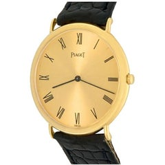 Piaget 18k Yellow Gold Manual Wristwatch with Black Strap
