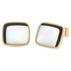 Piaget 18K Yellow Gold Onyx and Mother of Pearl Cufflinks