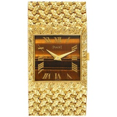 Piaget 18k Yellow Gold Tiger Eye Stone Dial Vintage Men's Watch 9352