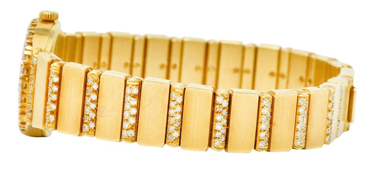 Piaget 3.75 Carat Diamond 18 Karat Gold Swiss Polo Watch Bracelet In Excellent Condition For Sale In Philadelphia, PA
