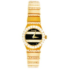 Piaget 3.75 Carat Diamond 18 Karat Gold Swiss Polo Watch Bracelet