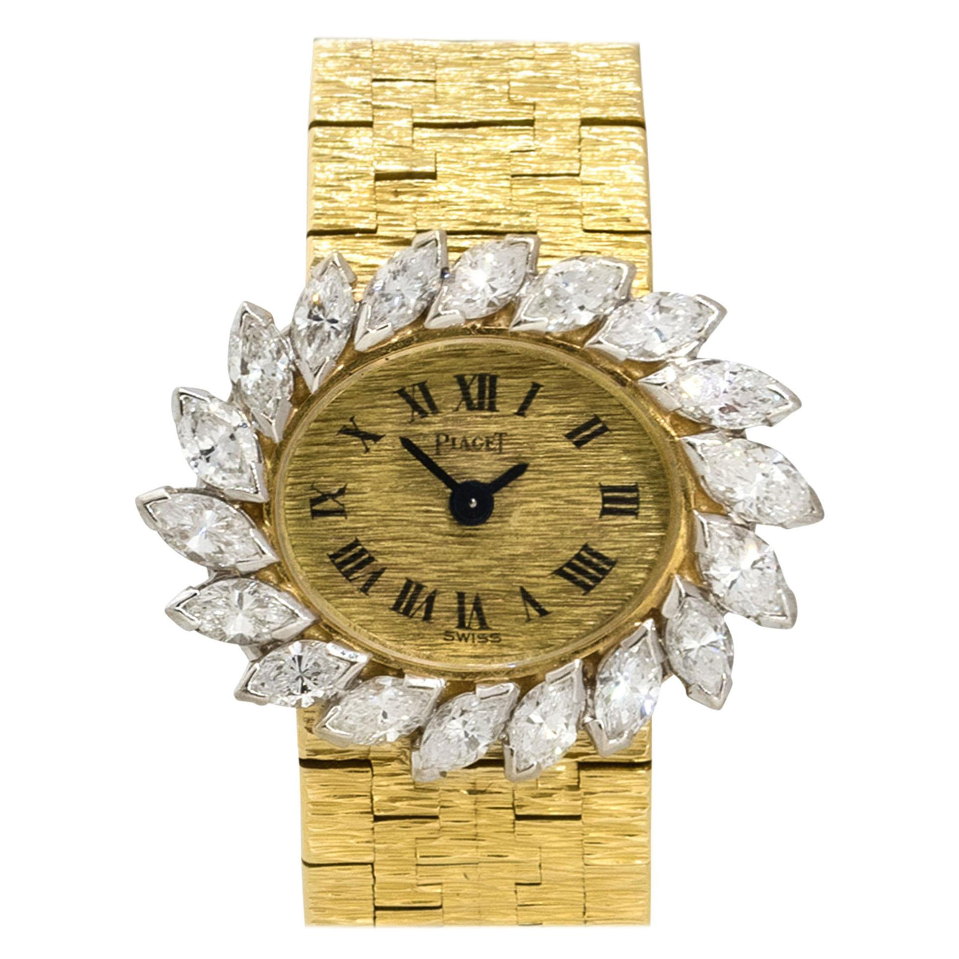 Piaget 3762A6 18k Yellow Gold Spiral Diamond Ladies Watch