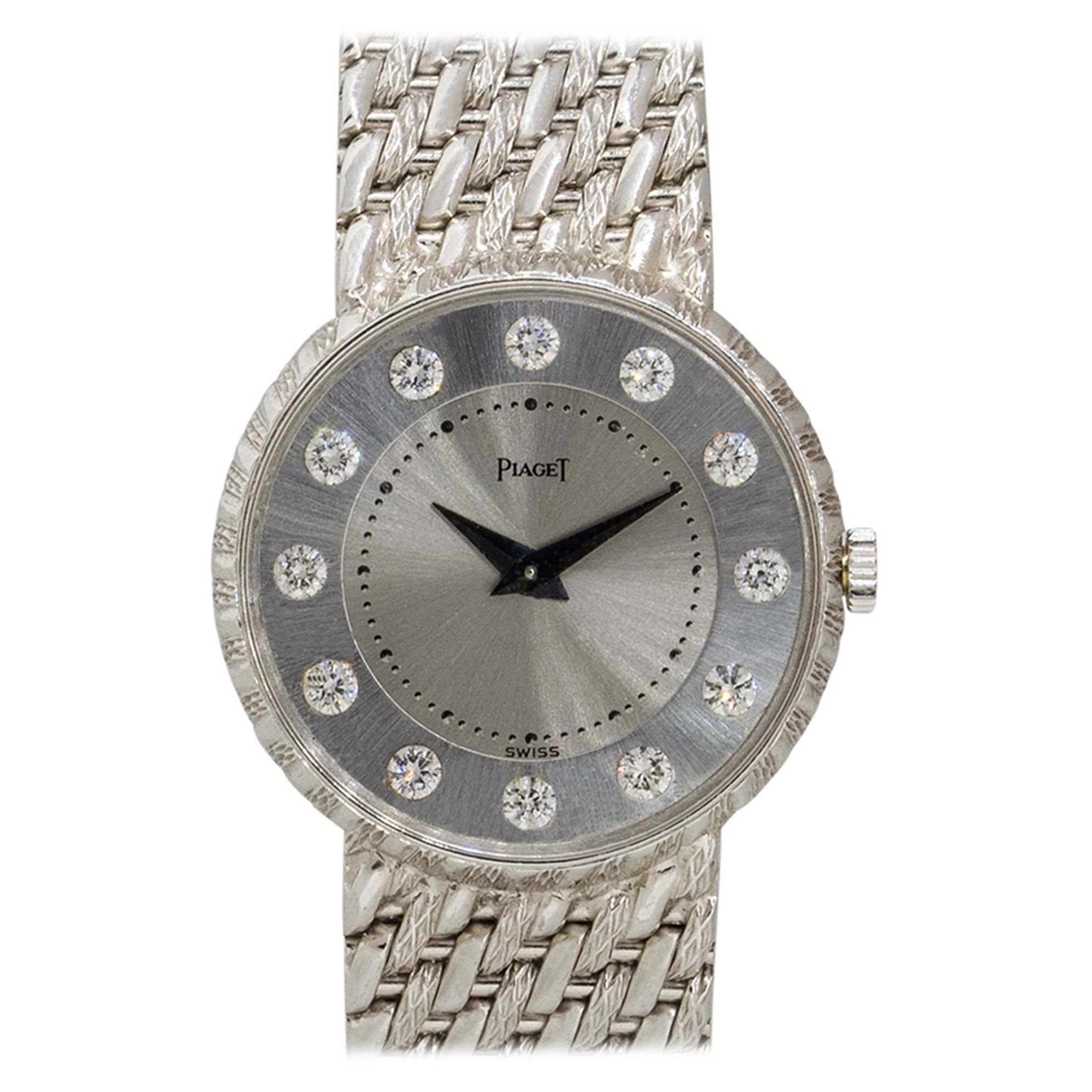 Piaget 4642P32 18k White Gold Silver Diamond Dial Ladies Watch