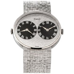Piaget 612501 A6 Vintage 1970s Two Time Zone 18 Karat White Gold Watch