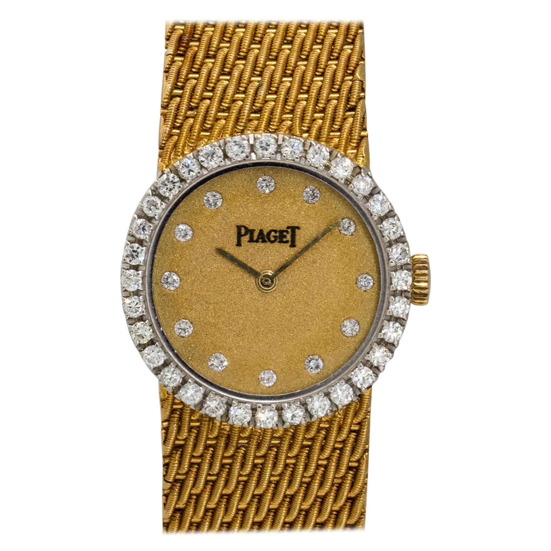 Piaget 6926 18k Yellow Gold Diamond Ladies Vintage Watch