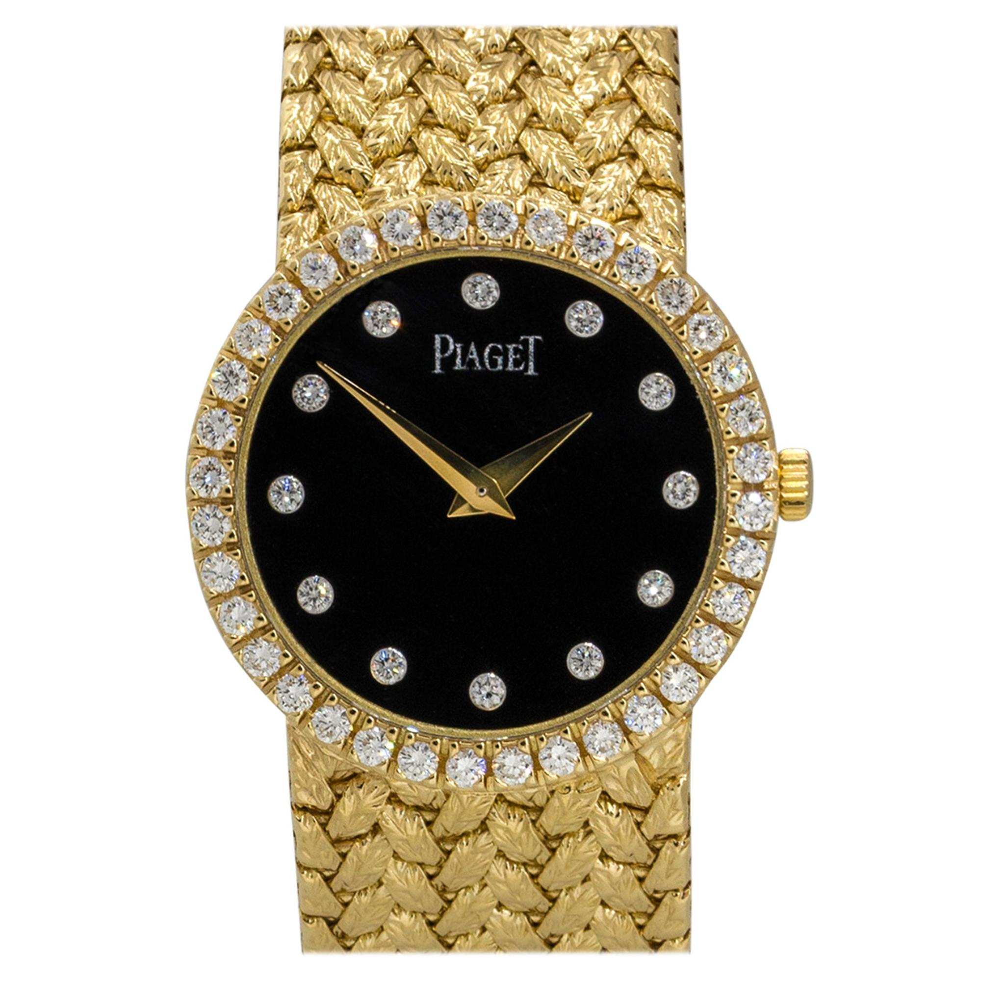 Piaget 8706D2 18k Yellow Gold Black Onyx Diamond Ladies Watch