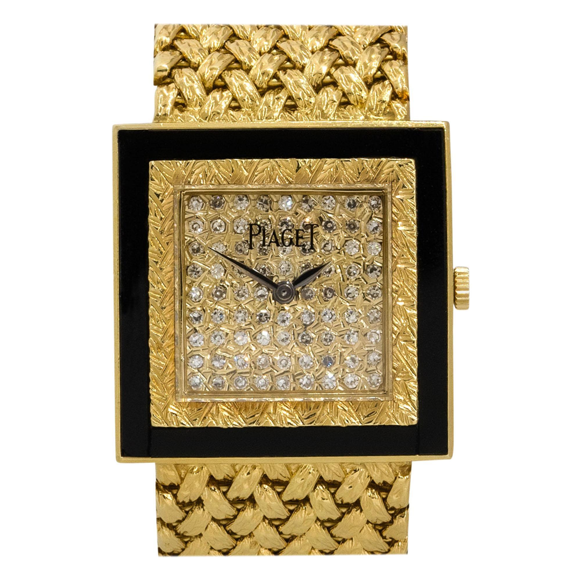 Piaget 92002D2 18k Yellow Gold Diamond Onyx Ladies Watch