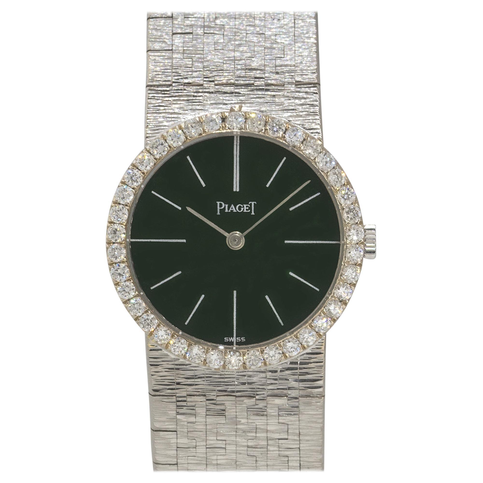 Piaget 924B2 18k White Gold Jade Dial Diamond Ladies Watch