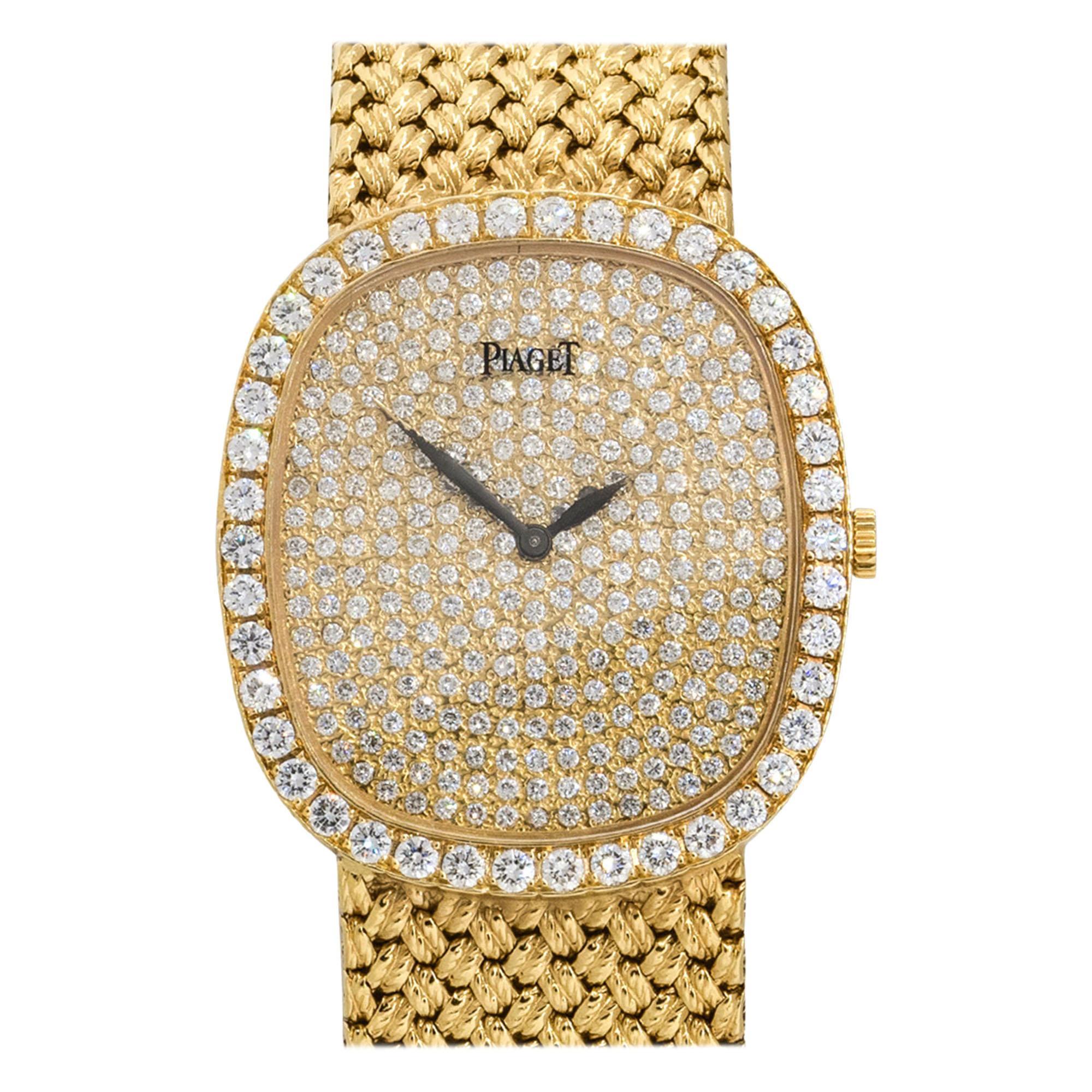 Piaget 94431D4 18k Yellow Gold Diamond Pave Ladies Watch