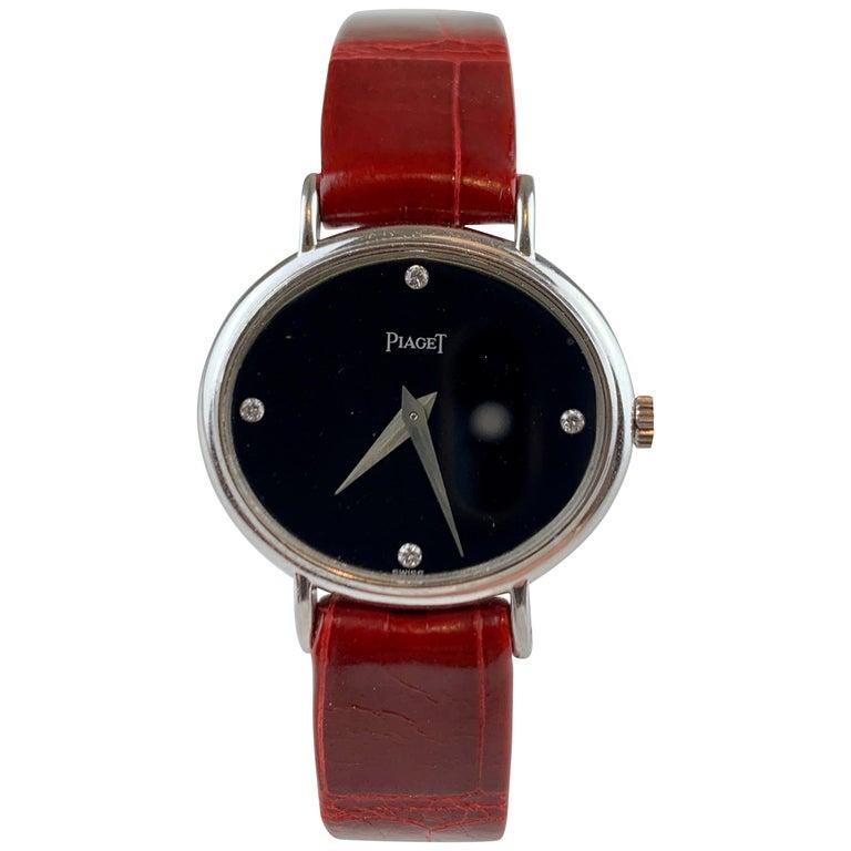 Piaget 9802 18 Carat Gold Diamond Wristwatch For Sale