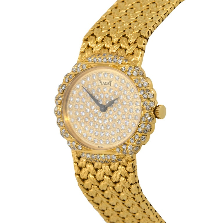 Round Cut Piaget 98174D2 18k Yellow Gold Diamond Pave Ladies Watch For Sale