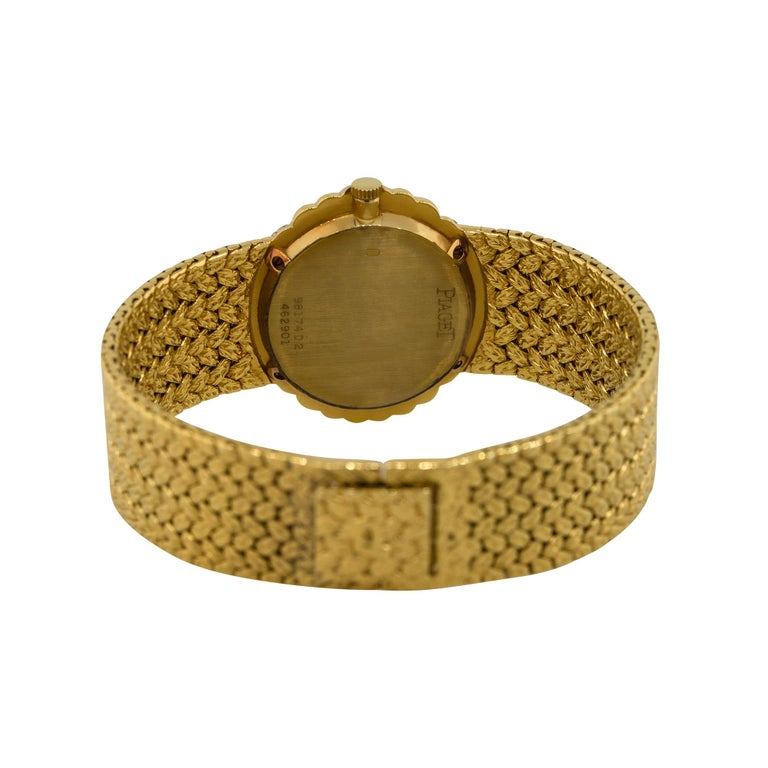 Women's Piaget 98174D2 18k Yellow Gold Diamond Pave Ladies Watch For Sale