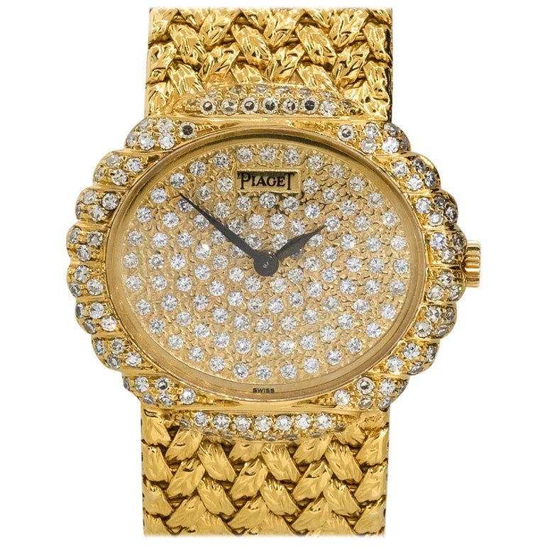 Piaget 98174D2 18k Yellow Gold Diamond Pave Ladies Watch For Sale