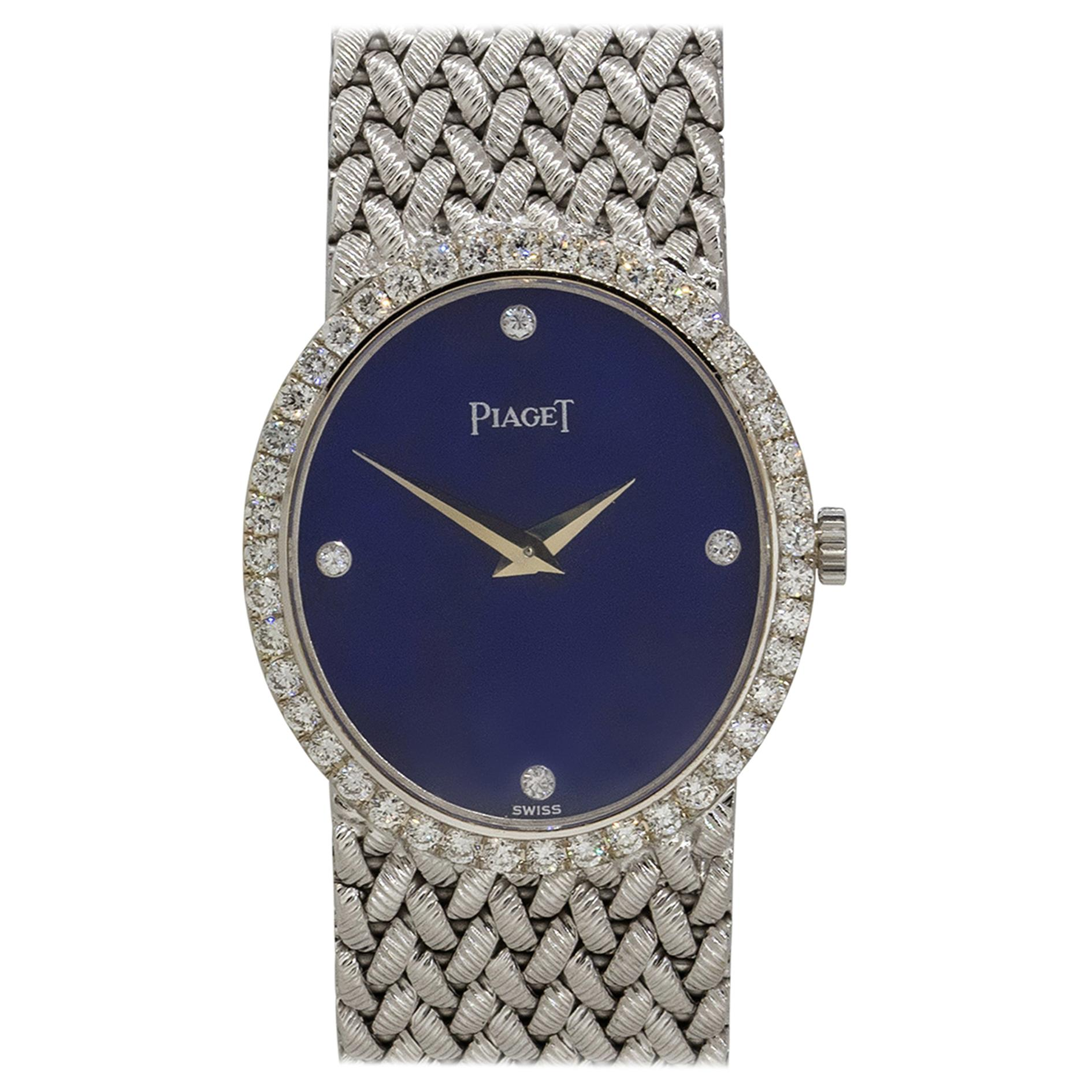 Piaget 9821D3 18k White Gold Lapis Diamond Dial Ladies Watch