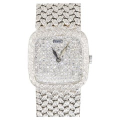 Piaget 9902D2 18k White Gold Diamond Pave Dial Vintage Watch