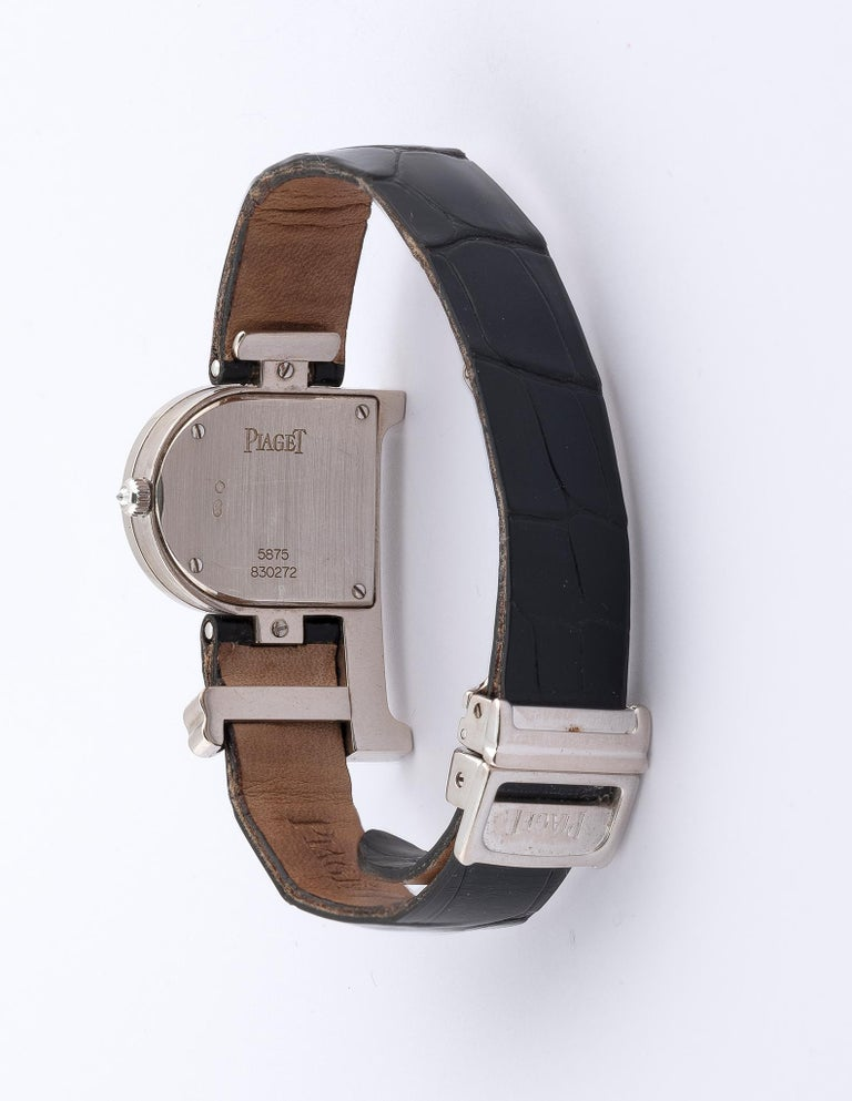 Contemporary Piaget, a Ladies 18 Karat White Gold and Diamond-Set P-Shaped Wristwatch For Sale