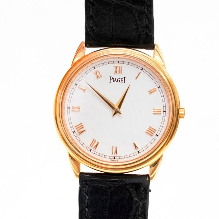 Piaget Altiplano Ultra Thin Unisex Watch with Leather Strap For Sale 6