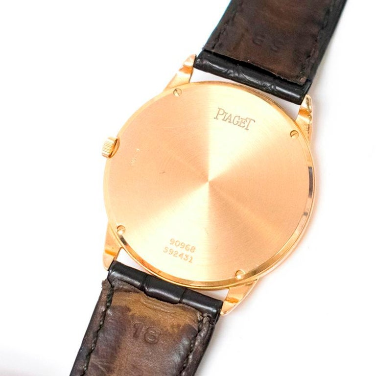 Piaget Altiplano Ultra Thin Unisex Watch with Leather Strap For Sale 2