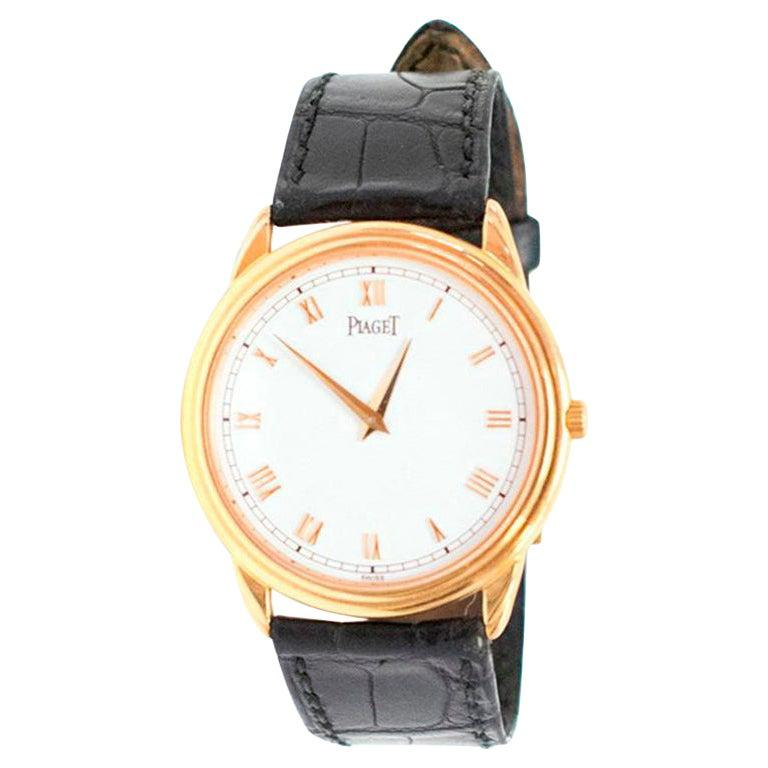Piaget Altiplano Ultra Thin Unisex Watch with Leather Strap For Sale