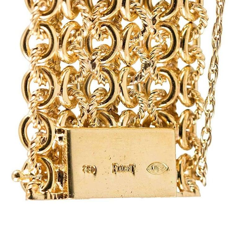 Piaget Ladies Yellow Gold Tiger's Eye Dial Bracelet Manual Wristwatch For Sale 2