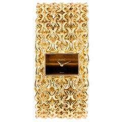 Piaget Ladies Yellow Gold Tiger's Eye Dial Bracelet Manual Wristwatch