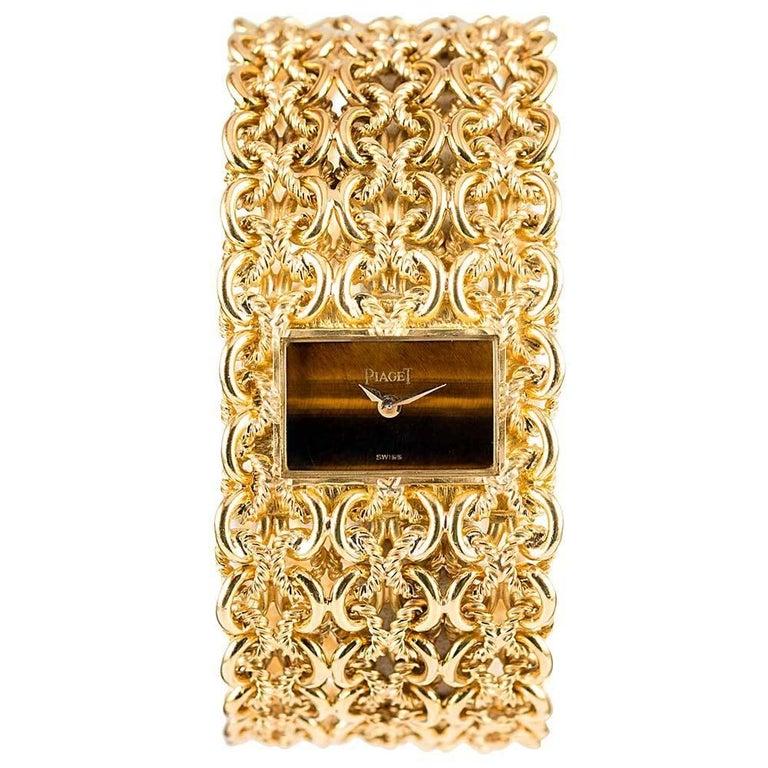 Piaget Ladies Yellow Gold Tiger's Eye Dial Bracelet Manual Wristwatch For Sale