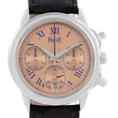 Piaget Chronograph Gouverneur Platinum Salmon Dial Men's Watch 12978